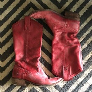 Frye Shoes - Frye Carson Western Red Cowboy Boots 6.5